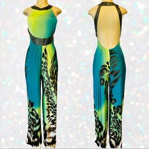Backless Faux Leather Green/Teal Leopard Jumpsuit